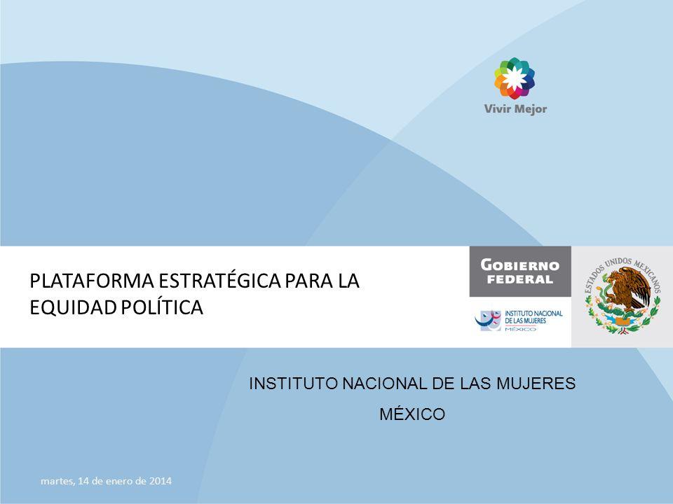 PLATAFORMA ESTRATÉGICA PARA LA EQUIDAD POLÍTICA martes, 14 de enero de 2014 INSTITUTO NACIONAL DE LAS MUJERES MÉXICO