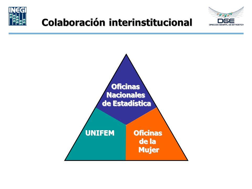 Colaboración interinstitucional Oficinas Nacionales de Estadística UNIFEMOficinas de la Mujer