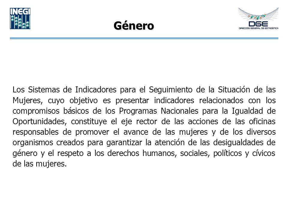 Género Los Sistemas de Indicadores para el Seguimiento de la Situación de las Mujeres, cuyo objetivo es presentar indicadores relacionados con los com