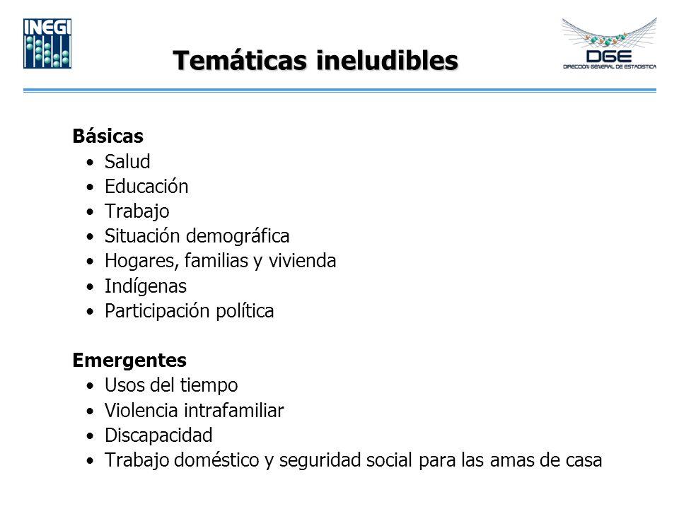 Temáticas ineludibles Básicas Salud Educación Trabajo Situación demográfica Hogares, familias y vivienda Indígenas Participación política Emergentes U