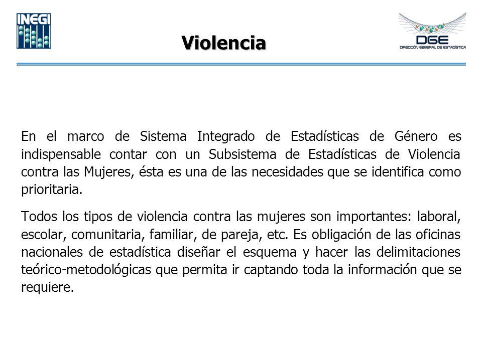 Violencia En el marco de Sistema Integrado de Estadísticas de Género es indispensable contar con un Subsistema de Estadísticas de Violencia contra las