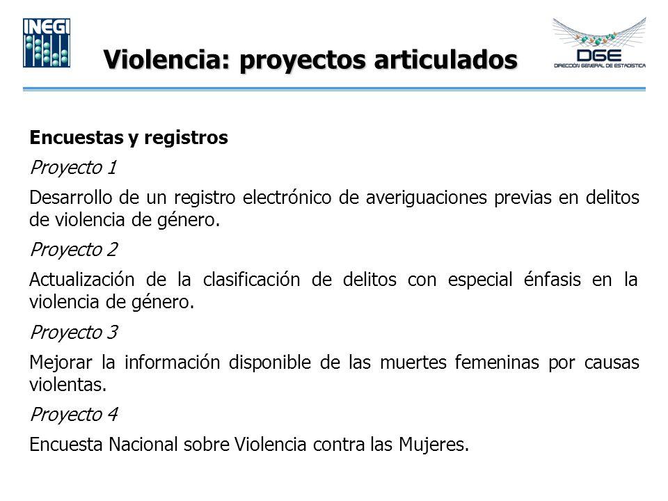 Violencia: proyectos articulados Encuestas y registros Proyecto 1 Desarrollo de un registro electrónico de averiguaciones previas en delitos de violen