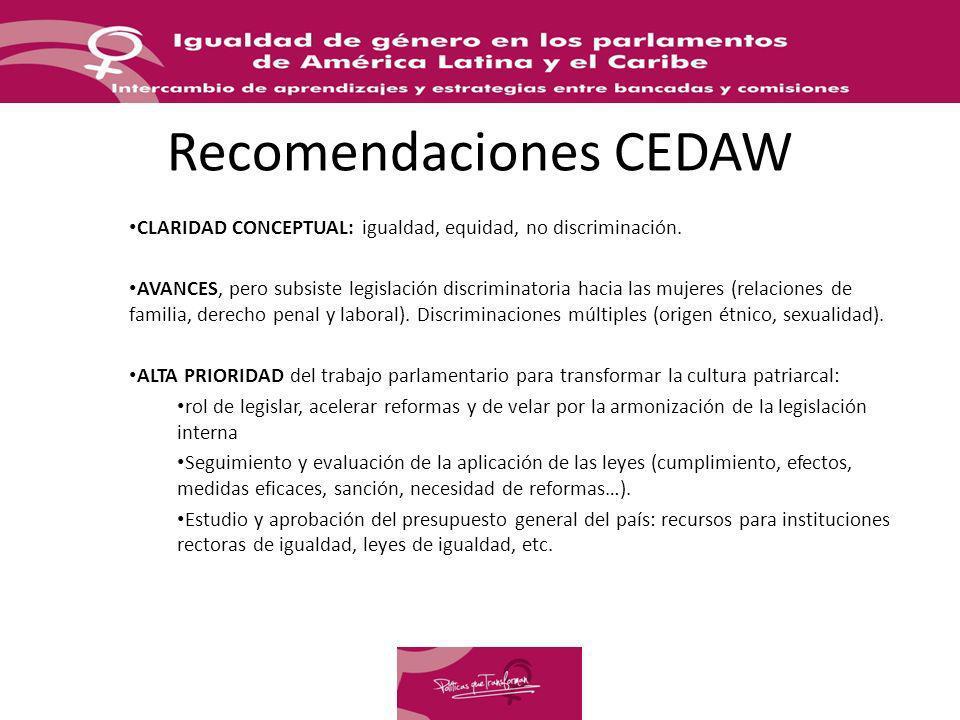 Recomendaciones CEDAW CLARIDAD CONCEPTUAL: igualdad, equidad, no discriminación. AVANCES, pero subsiste legislación discriminatoria hacia las mujeres