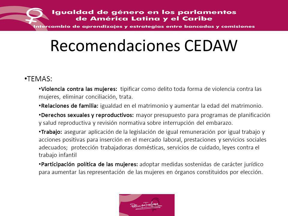 Recomendaciones CEDAW TEMAS: Violencia contra las mujeres: tipificar como delito toda forma de violencia contra las mujeres, eliminar conciliación, tr