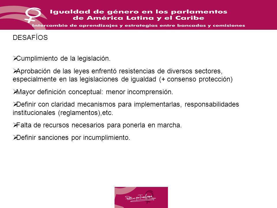 DESAFÍOS Cumplimiento de la legislación. Aprobación de las leyes enfrentó resistencias de diversos sectores, especialmente en las legislaciones de igu