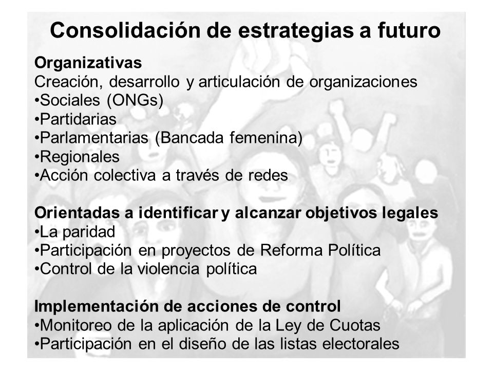 Consolidación de estrategias a futuro Organizativas Creación, desarrollo y articulación de organizaciones Sociales (ONGs) Partidarias Parlamentarias (