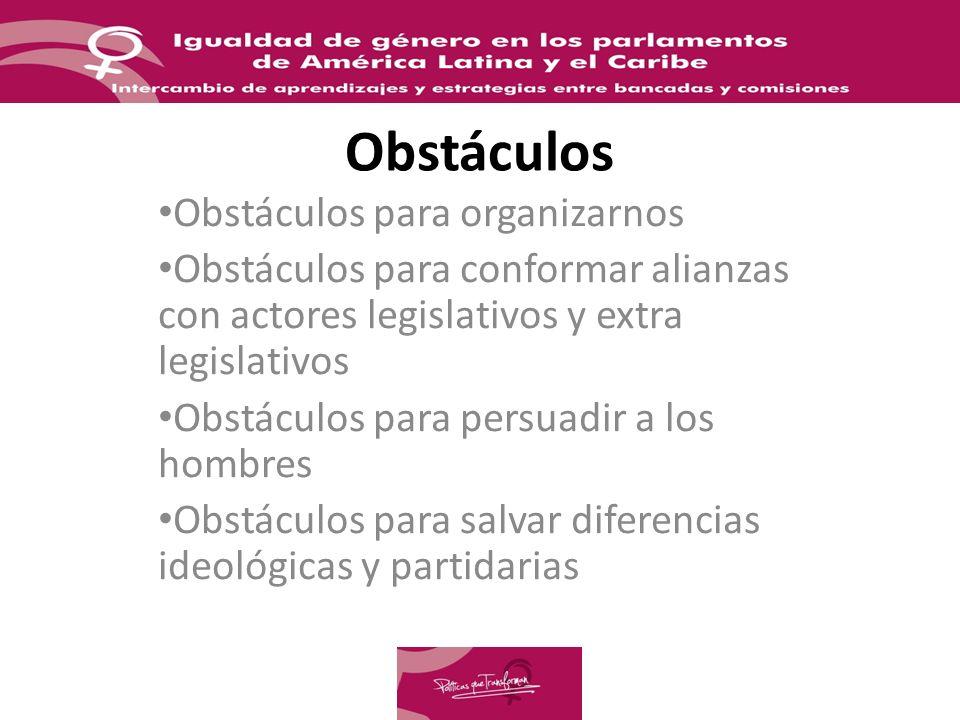 Obstáculos Obstáculos para organizarnos Obstáculos para conformar alianzas con actores legislativos y extra legislativos Obstáculos para persuadir a los hombres Obstáculos para salvar diferencias ideológicas y partidarias