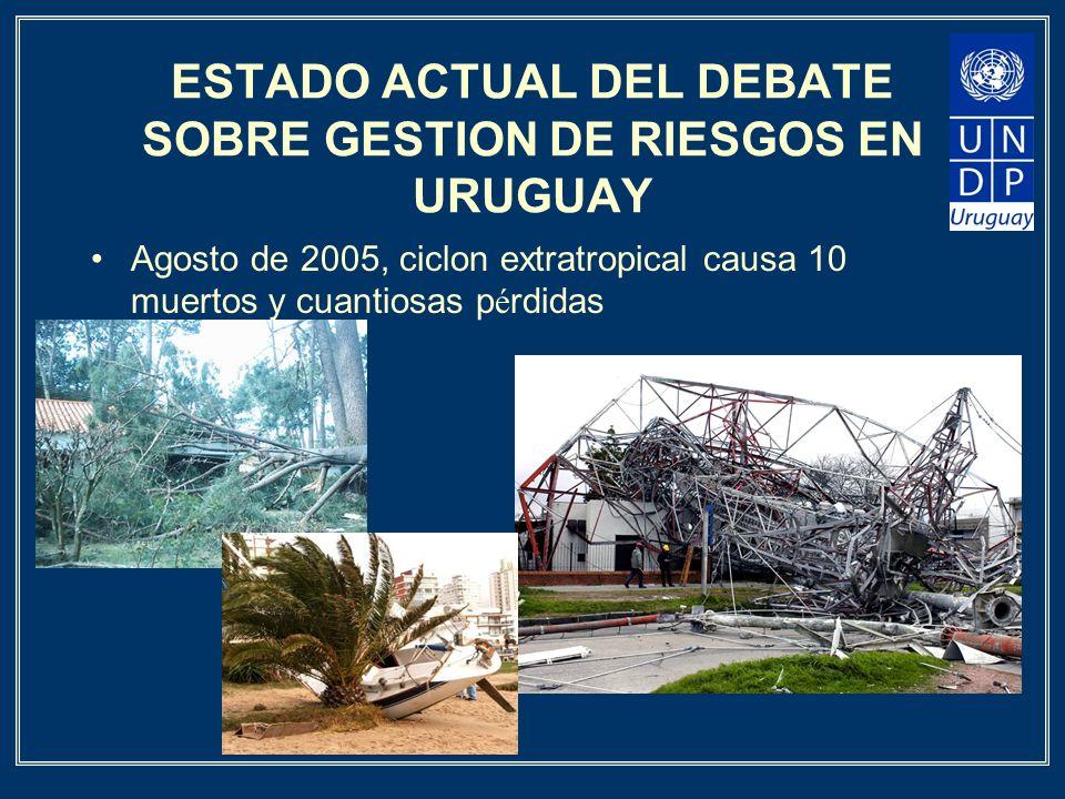 ESTADO ACTUAL DEL DEBATE SOBRE GESTION DE RIESGOS EN URUGUAY Agosto de 2005, ciclon extratropical causa 10 muertos y cuantiosas p é rdidas
