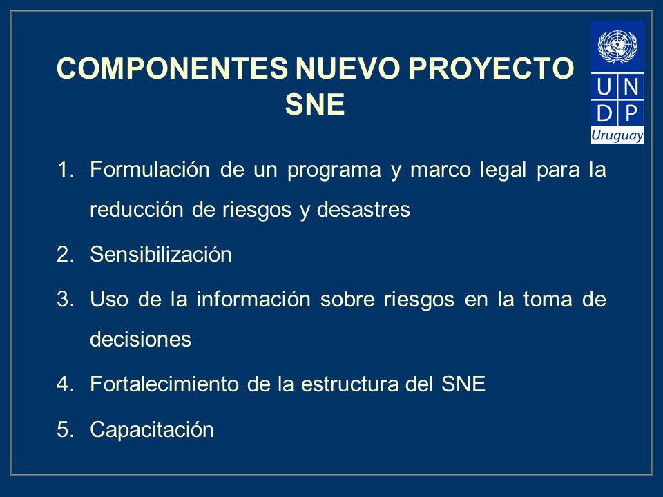 COMPONENTES NUEVO PROYECTO SNE 1.Formulación de un programa y marco legal para la reducción de riesgos y desastres 2.Sensibilización 3.Uso de la infor