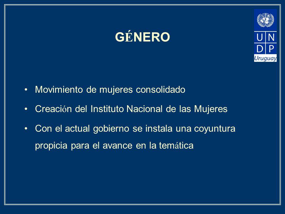 G É NERO Movimiento de mujeres consolidado Creaci ó n del Instituto Nacional de las Mujeres Con el actual gobierno se instala una coyuntura propicia p
