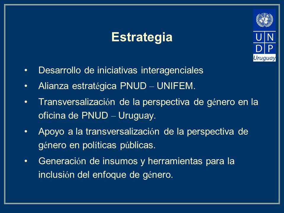 Estrategia Desarrollo de iniciativas interagenciales Alianza estrat é gica PNUD – UNIFEM. Transversalizaci ó n de la perspectiva de g é nero en la ofi