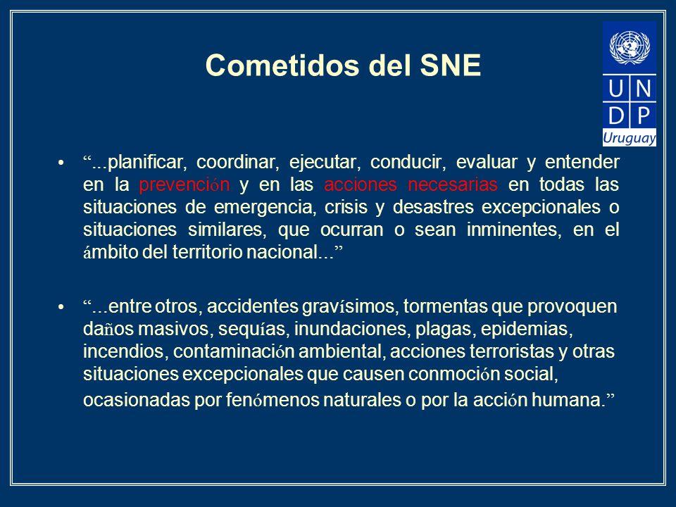 Cometidos del SNE...planificar, coordinar, ejecutar, conducir, evaluar y entender en la prevenci ó n y en las acciones necesarias en todas las situaci