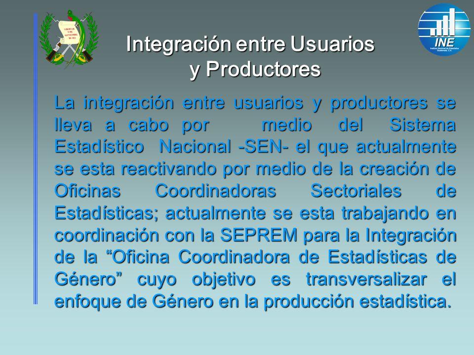 Integración entre Usuarios y Productores La integración entre usuarios y productores se lleva a cabo por medio del Sistema Estadístico Nacional -SEN-