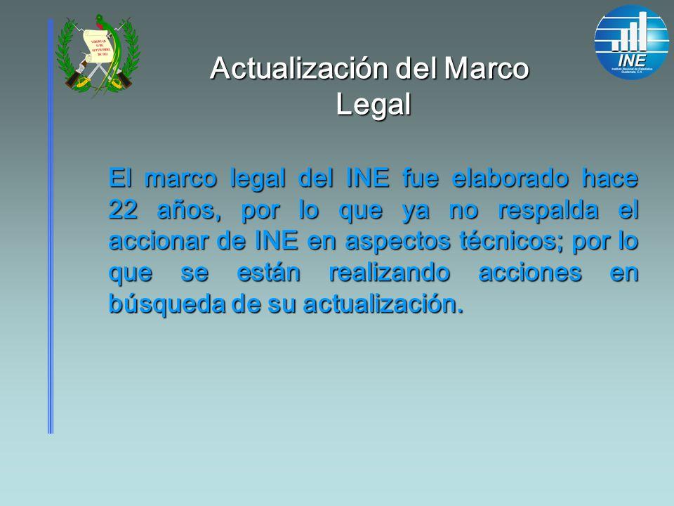 Actualización del Marco Legal El marco legal del INE fue elaborado hace 22 años, por lo que ya no respalda el accionar de INE en aspectos técnicos; po