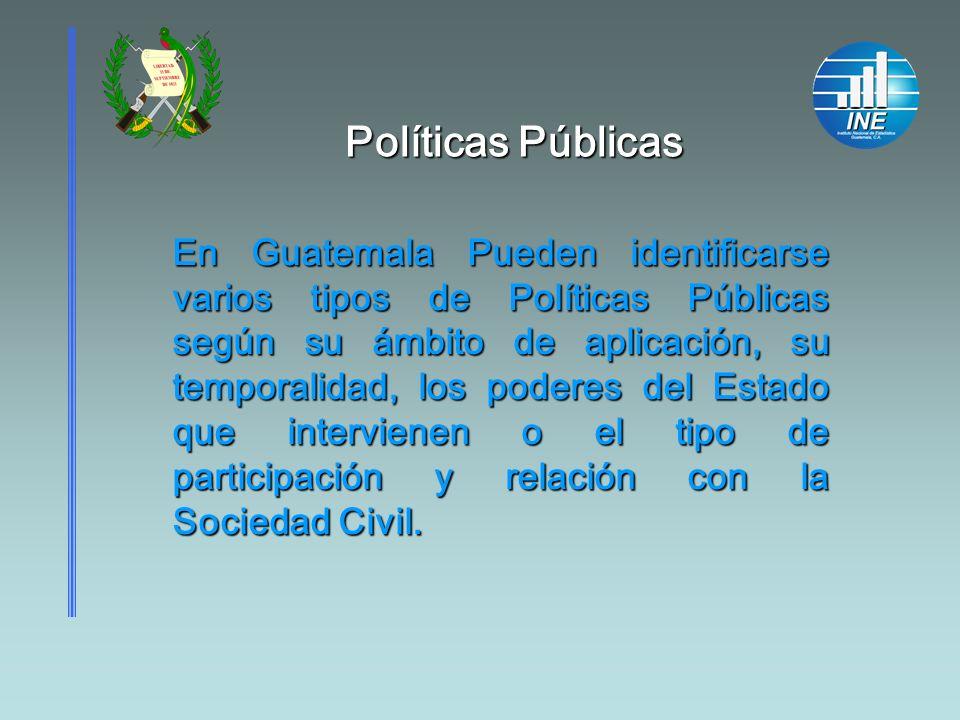 En Guatemala Pueden identificarse varios tipos de Políticas Públicas según su ámbito de aplicación, su temporalidad, los poderes del Estado que interv