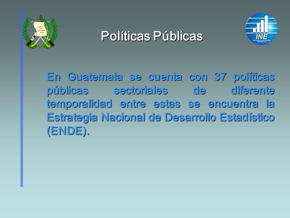 Políticas Públicas En Guatemala se cuenta con 37 políticas públicas sectoriales de diferente temporalidad entre estas se encuentra la Estrategia Nacio