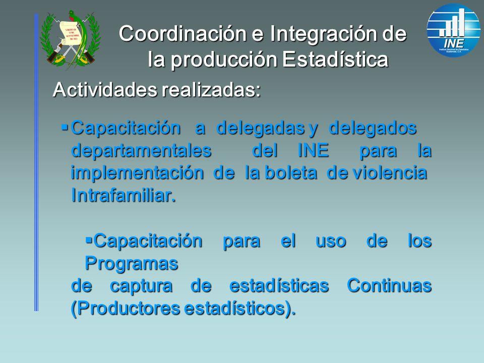 Actividades realizadas: Capacitación a delegadas y delegados Capacitación a delegadas y delegados departamentales del INE para la implementación de la