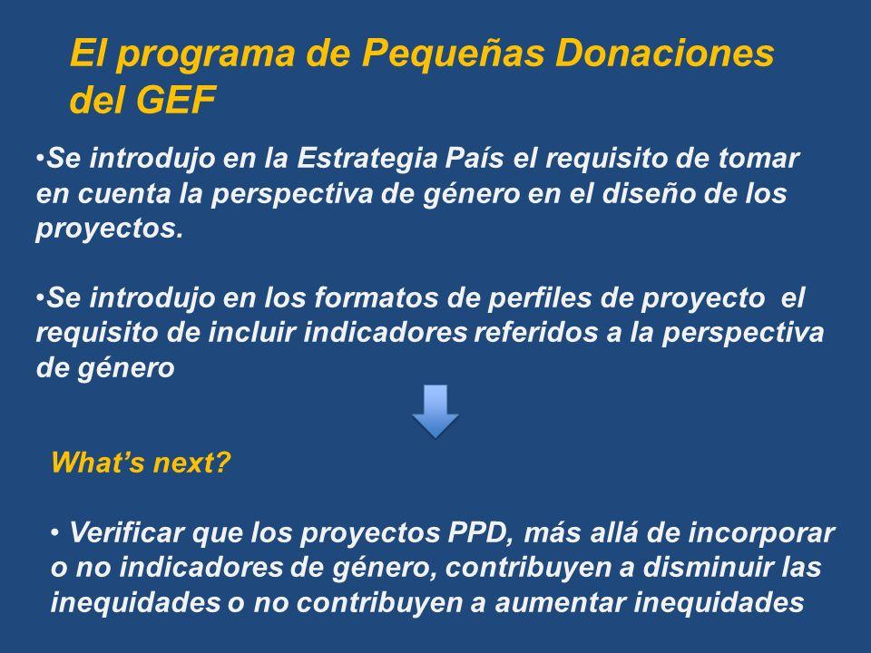 Se introdujo en la Estrategia País el requisito de tomar en cuenta la perspectiva de género en el diseño de los proyectos.