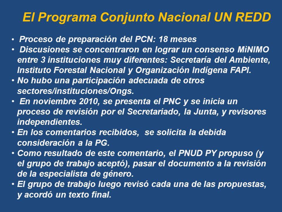 Proceso de preparación del PCN: 18 meses Discusiones se concentraron en lograr un consenso MìNIMO entre 3 instituciones muy diferentes: Secretaría del Ambiente, Instituto Forestal Nacional y Organización Indígena FAPI.