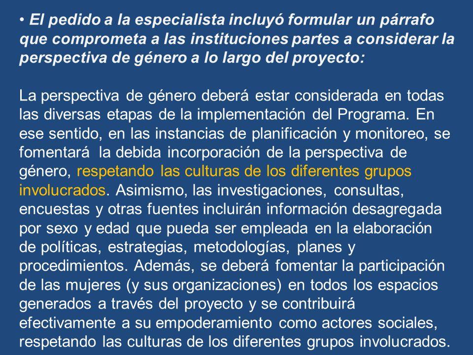 El pedido a la especialista incluyó formular un párrafo que comprometa a las instituciones partes a considerar la perspectiva de género a lo largo del proyecto: La perspectiva de género deberá estar considerada en todas las diversas etapas de la implementación del Programa.