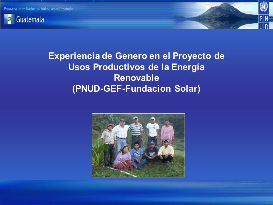 Experiencia de Genero en el Proyecto de Usos Productivos de la Energía Renovable (PNUD-GEF-Fundacion Solar)