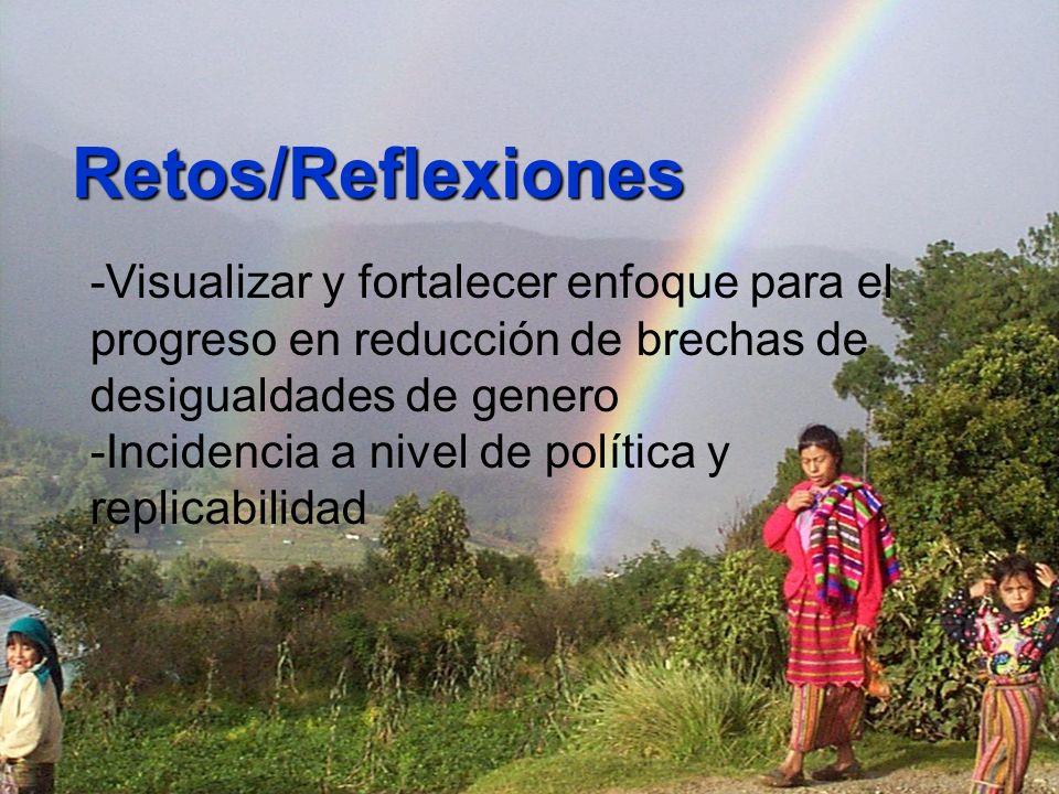 Retos/Reflexiones -Visualizar y fortalecer enfoque para el progreso en reducción de brechas de desigualdades de genero -Incidencia a nivel de política y replicabilidad