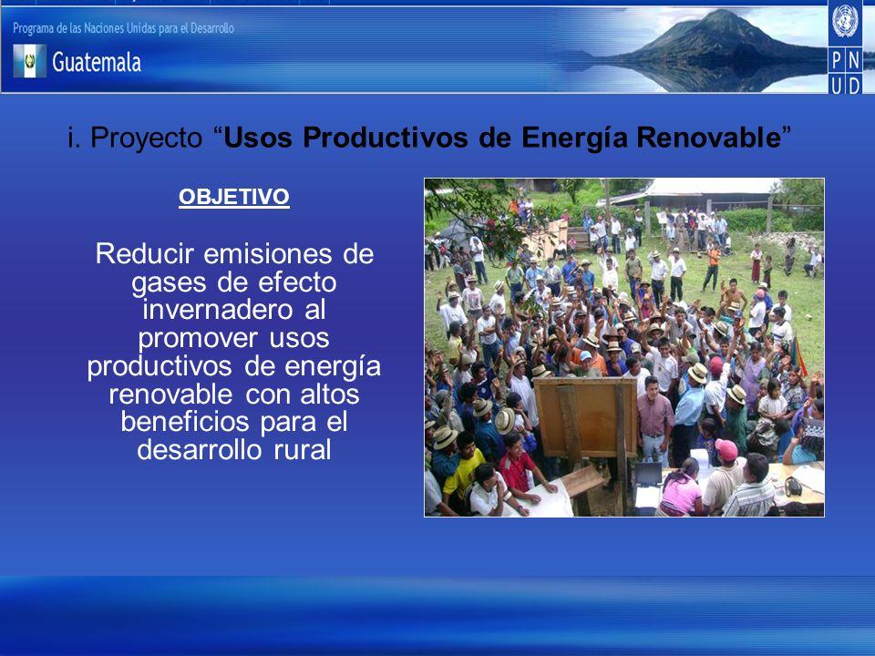 i. Proyecto Usos Productivos de Energía Renovable OBJETIVO Reducir emisiones de gases de efecto invernadero al promover usos productivos de energía re