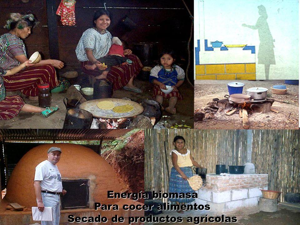 Energía biomasa Para cocer alimentos Secado de productos agrícolas