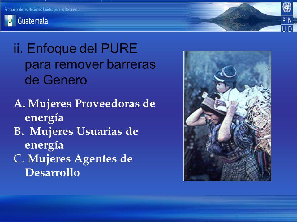 ii. Enfoque del PURE para remover barreras de Genero A. Mujeres Proveedoras de energía B. Mujeres Usuarias de energía C. Mujeres Agentes de Desarrollo
