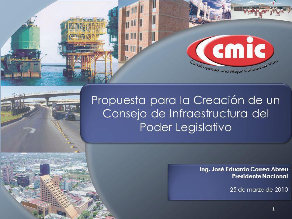 1 Propuesta para la Creación de un Consejo de Infraestructura del Poder Legislativo Ing. José Eduardo Correa Abreu Presidente Nacional 25 de marzo de