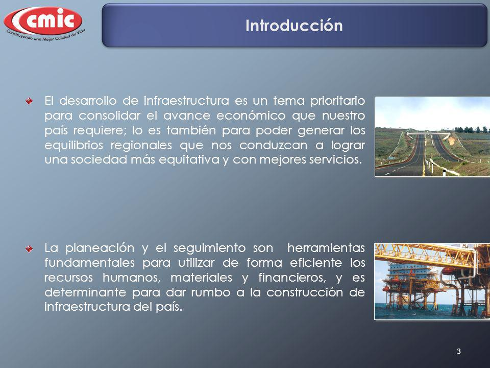 3 Introducción El desarrollo de infraestructura es un tema prioritario para consolidar el avance económico que nuestro país requiere; lo es también pa