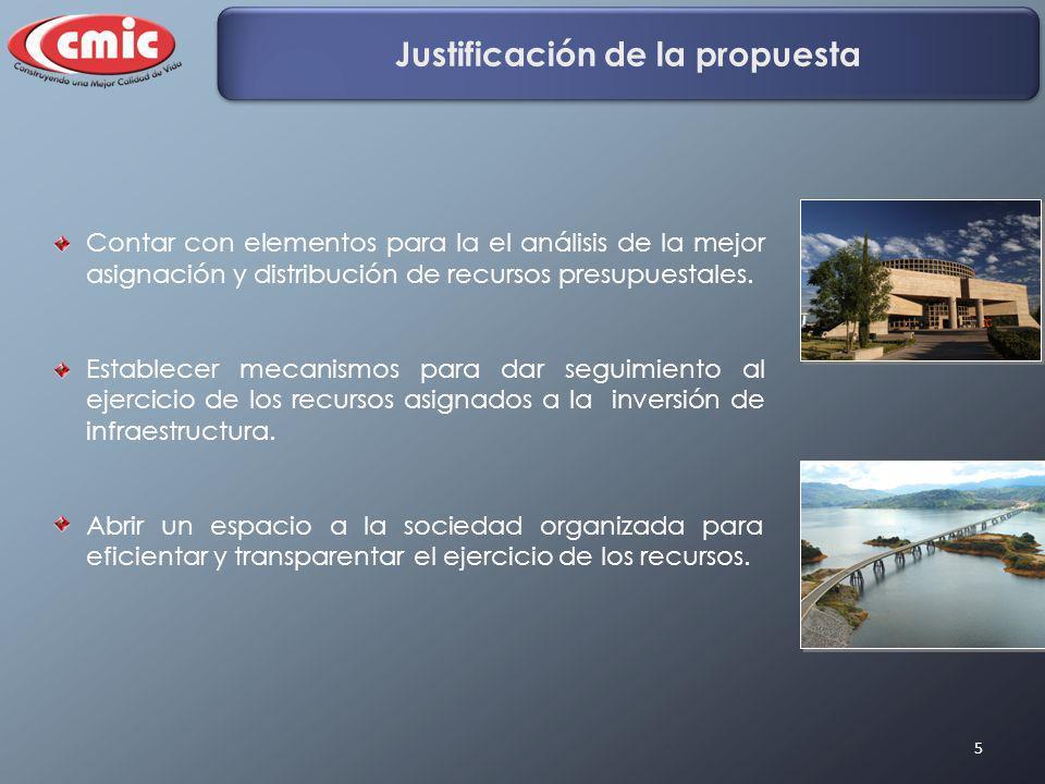 5 Justificación de la propuesta Contar con elementos para la el análisis de la mejor asignación y distribución de recursos presupuestales. Establecer