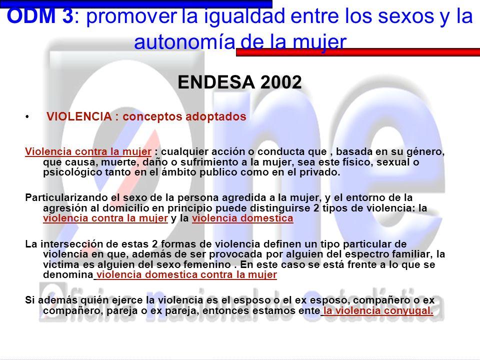 ODM 3: promover la igualdad entre los sexos y la autonomía de la mujer ENDESA 2002 VIOLENCIA : conceptos adoptados Violencia contra la mujer : cualqui
