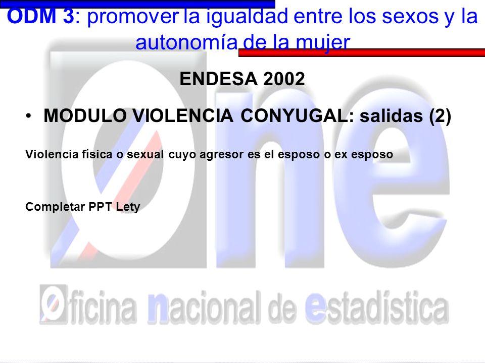 ODM 3: promover la igualdad entre los sexos y la autonomía de la mujer ENDESA 2002 MODULO VIOLENCIA CONYUGAL: salidas (2) Violencia física o sexual cuyo agresor es el esposo o ex esposo Completar PPT Lety