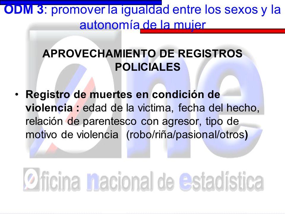 ODM 3: promover la igualdad entre los sexos y la autonomía de la mujer APROVECHAMIENTO DE REGISTROS POLICIALES Registro de muertes en condición de vio