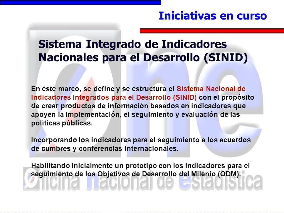 Iniciativas en curso Sistema Integrado de Indicadores Nacionales para el Desarrollo (SINID) En este marco, se define y se estructura el Sistema Nacion
