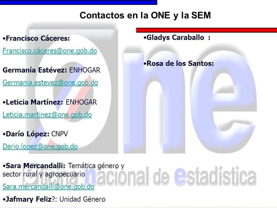Contactos en la ONE y la SEM Francisco Cáceres: Francisco.cáceres@one.gob.do Germanía Estévez: ENHOGAR Germania.estevez@one.gob.do Leticia Martínez: E