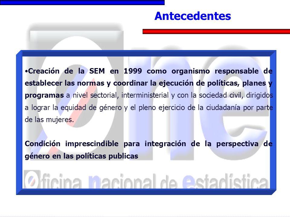 Creación de la SEM en 1999 como organismo responsable de establecer las normas y coordinar la ejecución de políticas, planes y programas a nivel secto