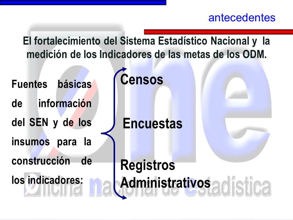 Fuentes básicas de información del SEN y de los insumos para la construcción de los indicadores: El fortalecimiento del Sistema Estadístico Nacional y la medición de los Indicadores de las metas de los ODM.