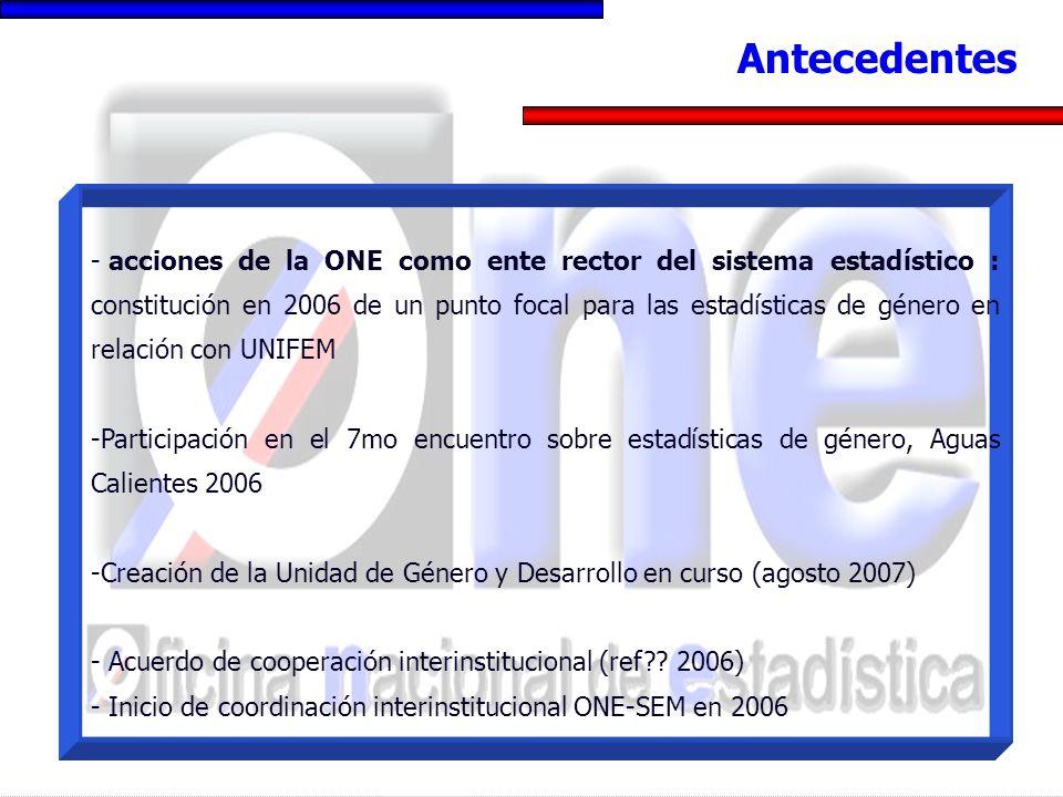 - acciones de la ONE como ente rector del sistema estadístico : constitución en 2006 de un punto focal para las estadísticas de género en relación con