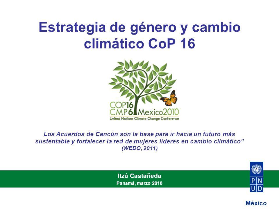 Estrategia de género y cambio climático CoP 16 Itzá Castañeda Panamá, marzo 2010 México Los Acuerdos de Cancún son la base para ir hacia un futuro más sustentable y fortalecer la red de mujeres líderes en cambio climático (WEDO, 2011)