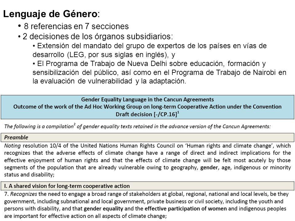 Lenguaje de Género: 8 referencias en 7 secciones 2 decisiones de los órganos subsidiarios: Extensión del mandato del grupo de expertos de los países e