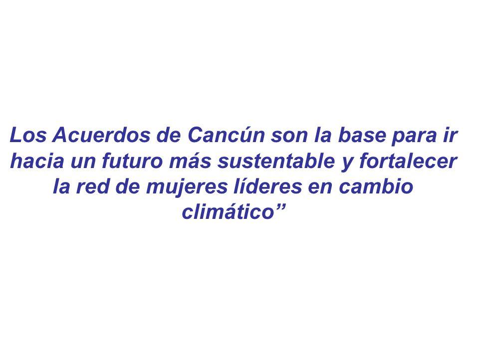Los Acuerdos de Cancún son la base para ir hacia un futuro más sustentable y fortalecer la red de mujeres líderes en cambio climático