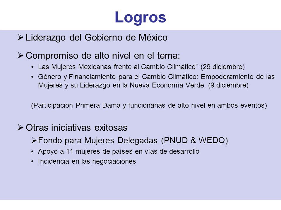 Logros Liderazgo del Gobierno de México Compromiso de alto nivel en el tema: Las Mujeres Mexicanas frente al Cambio Climático (29 diciembre) Género y Financiamiento para el Cambio Climático: Empoderamiento de las Mujeres y su Liderazgo en la Nueva Economía Verde.