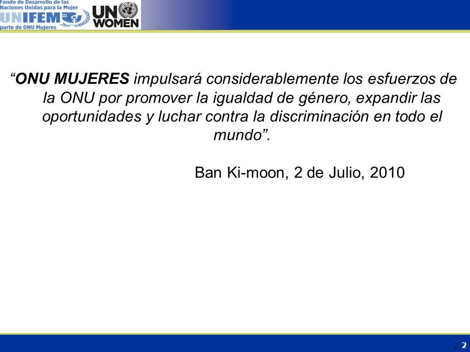 3 Contexto 2 de Julio 2010– Resolución de la Asamblea General(A/64/L.56) Entidad de las Naciones Unidas para la Igualdad de Género y el Empoderamiento de la Mujer: ONU MUJERES 4 años de trabajo sustantivo con consenso político global, y búsqueda de coherencia, armonización y coordinación del SNU Alta participación de la sociedad civil (Campaña para la Reforma de la Arquitectura para la Igualdad de Género – GEAR)