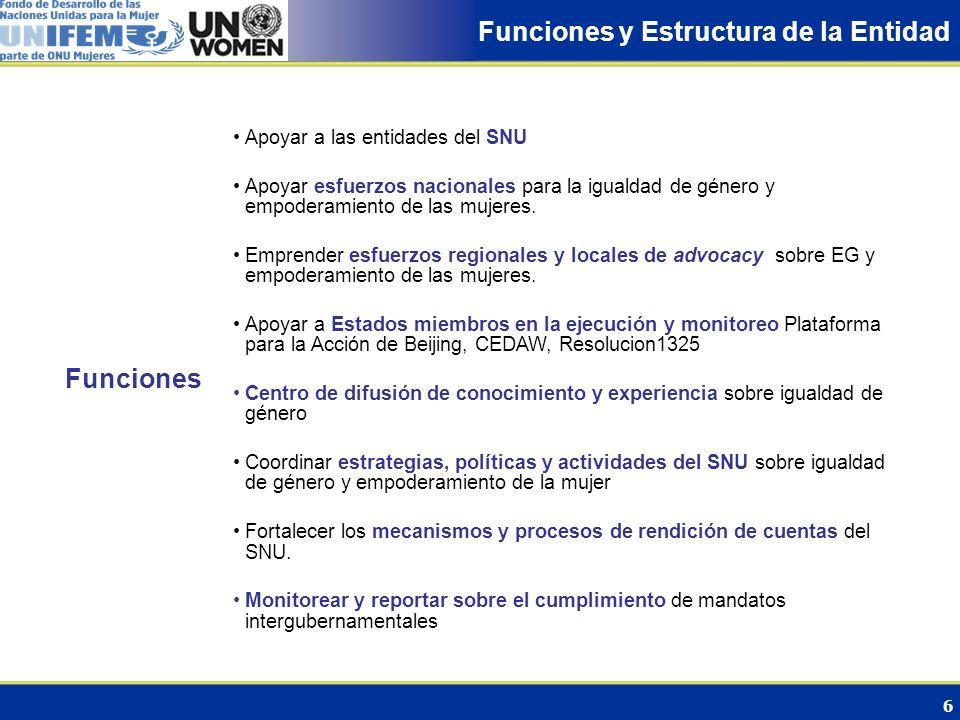 7 Estructura Estructura de Gobierno Funciones Normativas: Asamblea General + ECOSOC + Comision sobre Estatus de la Mujer (CSW) Funciones Operacionales: Asamblea General + ECOSOC + Jta.