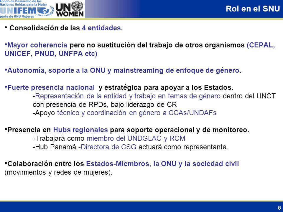 8 Rol en el SNU Consolidación de las 4 entidades. Mayor coherencia pero no sustitución del trabajo de otros organismos (CEPAL, UNICEF, PNUD, UNFPA etc
