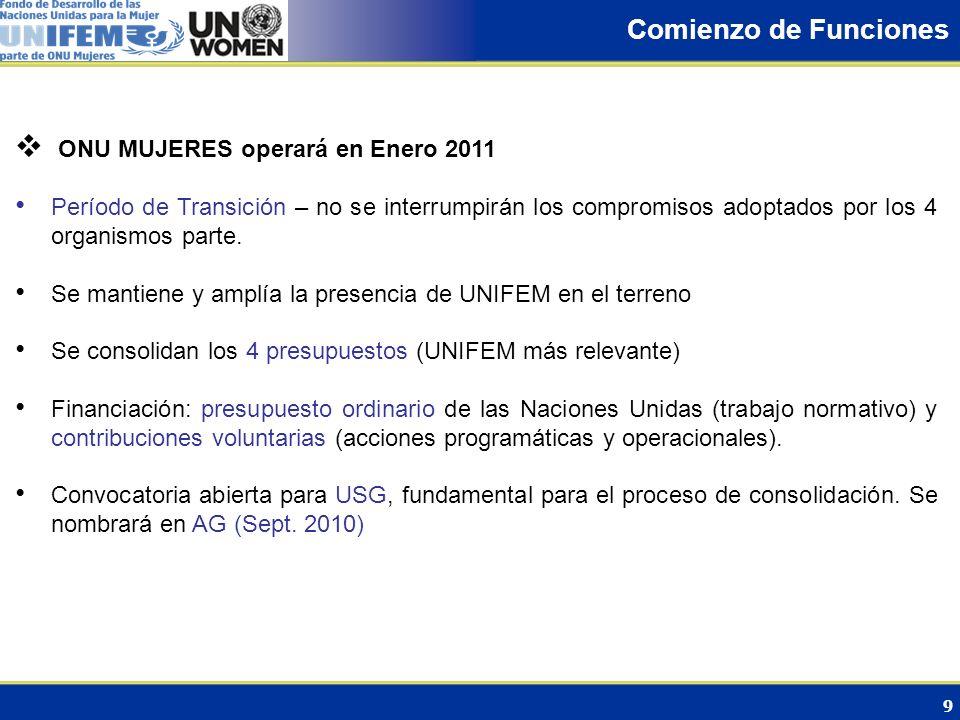 9 Comienzo de Funciones ONU MUJERES operará en Enero 2011 Período de Transición – no se interrumpirán los compromisos adoptados por los 4 organismos p
