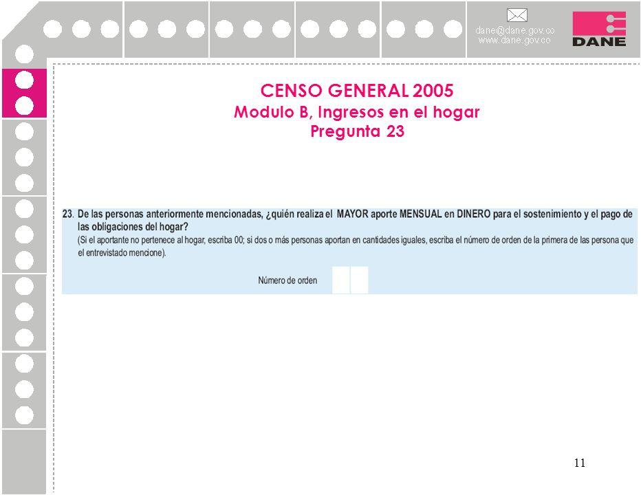 11 CENSO GENERAL 2005 Modulo B, Ingresos en el hogar Pregunta 23