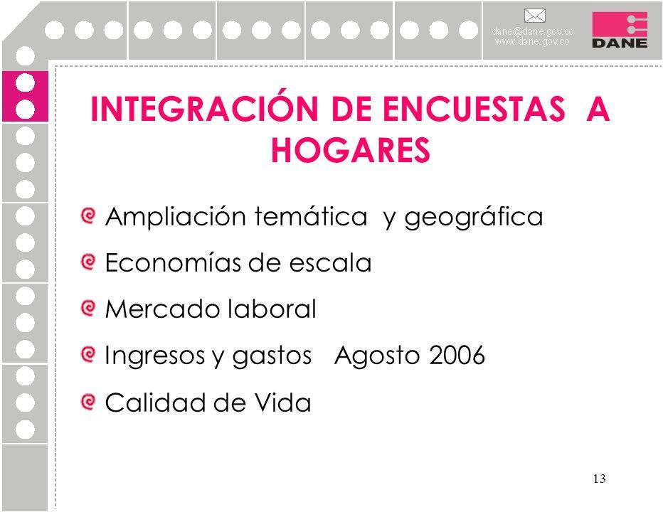 13 Ampliación temática y geográfica Economías de escala Mercado laboral Ingresos y gastos Agosto 2006 Calidad de Vida INTEGRACIÓN DE ENCUESTAS A HOGAR